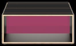 Clubtisch Birke schwarz Trennwand Acrylglas satiniert plum