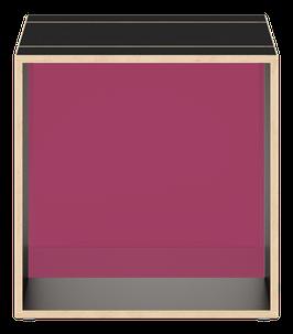 Black Cube with glazed acrylic glass  plum