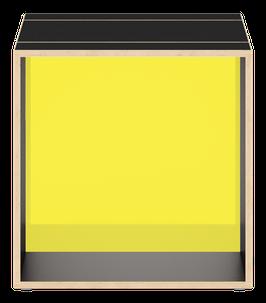 Cube schwarz mit Acrylglas satiniert citrus yellow