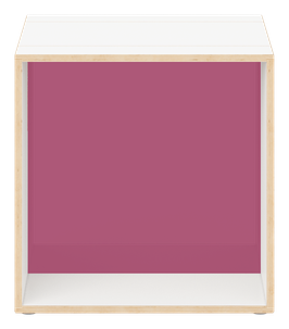 Cube weiss mit Acrylglas satiniert plum