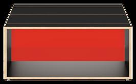 Clubtisch schwarz mit Acrylglas glanz transparent dunkelrot