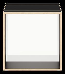 Cube schwarz mit Acrylglas satiniert polar white