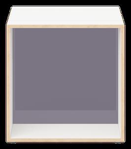 Cube weiss mit Acrylglas satiniert stone grey