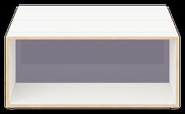 Clubtisch weiss mit Acrylglas satiniert stone grey