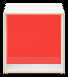 Cube weiss mit Acrylglas satiniert chili red