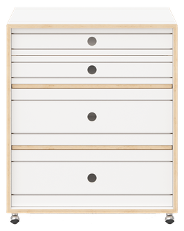 WHITE ROLLING FILE CABINET