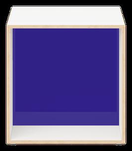 Cube weiss mitAcrylglas glanz transparent dunkelblau
