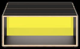 Clubtisch schwarz mit  Acrylglas satiniert citrus yellow