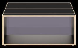 Clubtisch schwarz mit Acrylglas satiniert stone grey