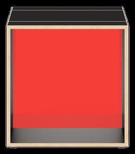 Cube schwarz mit Acrylglas satiniert chili red