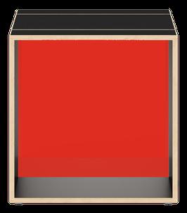 Cube schwarz mit Acrylglas glanz transparent dunkelrot