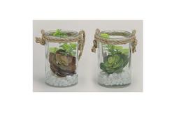 Glas mit Kunstblume - 2er Set