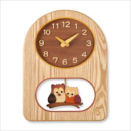 旭川 木工 フクロウ タモ時計