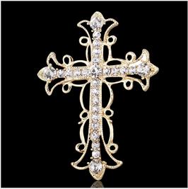 水钻十字架 时尚水钻十字架胸针 Rhinestone Cross Fashion Rhinestone Cross Brooch