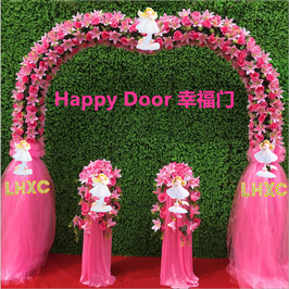 LHXC Wedding Heart Shaped Arch guide pillar angels Happy Door  LHXC 婚礼心型绢花拱门引路柱天使幸福门
