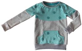 Sweatshirt mit Rundhalsausschnitt grau/grün/glitzer