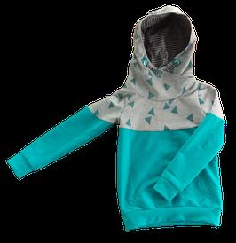 Hoodie türkis mit glitzerdreiecken und kaputze