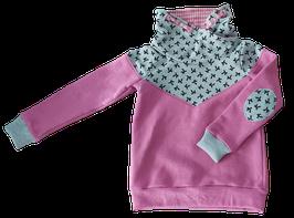 Hoodie rosa mit schalkragen und weiß/rosa innenfutter