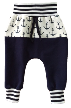 Baggy Pant Blau Weiß mit Anker