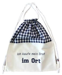 "Brot Rucksack blau weiß ""im ort"""