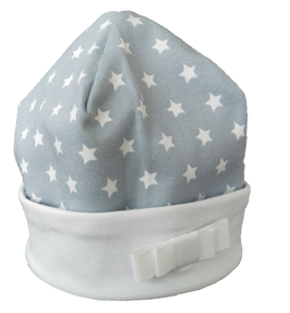 Babymütze Hellelgrau Weiß Sterne