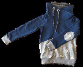 Hoodie taubenblau mit schalkragen und weiß/grauen innenfutter