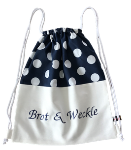 "Brot Rucksack blau weiß ""brot & wäckle"""