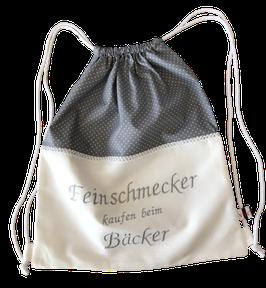 Brot Rucksack grau weiß mit spitze