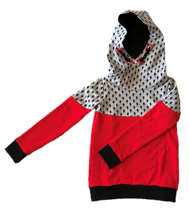 Hoodie rot mit kaputze und schwarzem kaputzen innenfutter