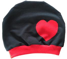 Mütze Schwarz mit Herz