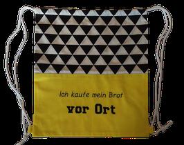 """Brot Rucksack gelb schwarz weiß """"vor Ort"""""""