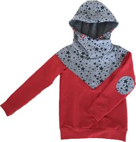 Hoodie rot mit kaputze und weiß/schwarzem kaputzen innenfutter