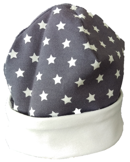 Babymütze grau Weiß Sterne