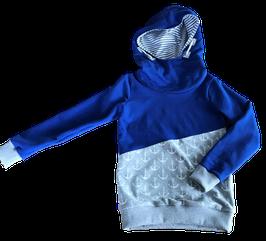 Hoodie blau mit kaputze und gestreiftem kaputzen innenfutter