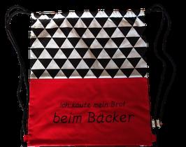 """Brot Rucksack rot schwarz weiß """"beim bäcker"""""""