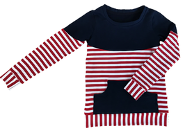Sweatshirt mit Rundhalsausschnitt rot/weiß/dunkelblau