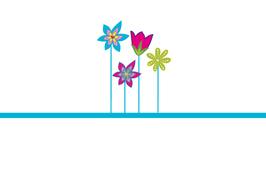 Menükarte Herzform - Design Blumenwiese