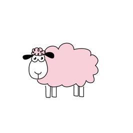 Menükarte Fischform für die Kommunion/Konfirmation, Design Schafe