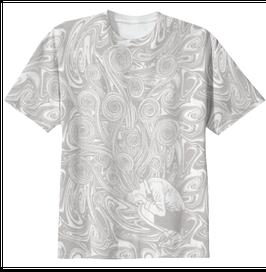 桐絵うずまき総柄Tシャツ-P-【WHITE×GRAY】