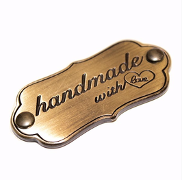 "Schild ""handmade with love"" antique gold, matt"