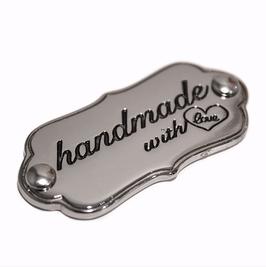 """Schild """"handmade with love"""" silber, glänzend"""