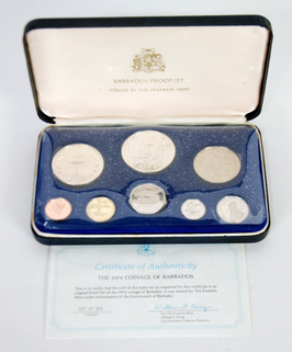 1974 COINAGE OF BARBADOS PROOF SET OF 8 COINS