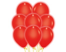 5 rote LED Luftballons ca. 30cm Durchmesser