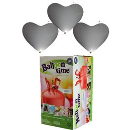 Helium-Einwegbehälter mit 30 weiße LED-Herzballons