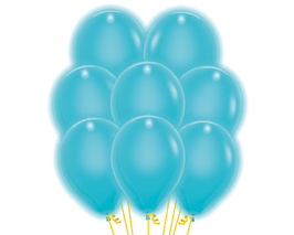 5 blaue LED Luftballons ca. 30cm Durchmesser