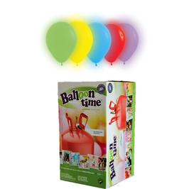 Helium-Einwegbehälter mit 30 bunte LED-Ballons