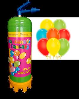 Helium-Einwegbehälter mit 25 bunte LED-Luftballons