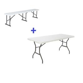 Ensemble 2 bancs pliants + table pliante pour 8 personnes