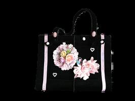 UNIKAT Trachtenhandtasche aus Filz mit hübschen Applikationen schwarz
