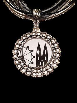 Regensburg-Edition Motivkette schwarz-weiß mit antiksilberfarbener Fassung (Ornament)